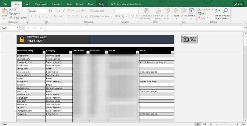 excel password manager